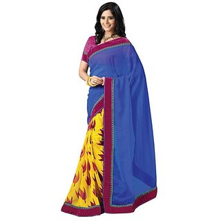 Firstloot Striking Velvet Bordered Chiffon Saree