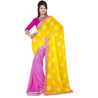 Firstloot Trendy Pink Color Chiffon Printed Casual Wear Saree