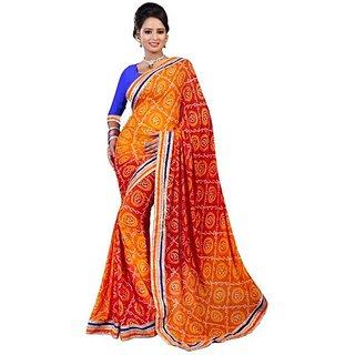 Firstloot Stylish Orange Color Chiffon Printed Casual Wear Saree