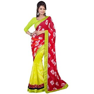 Firstloot Trendy Green Color Chiffon Printed Casual Wear Saree
