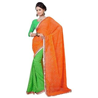 Firstloot Classic Green Color Chiffon Printed Casual Wear Saree