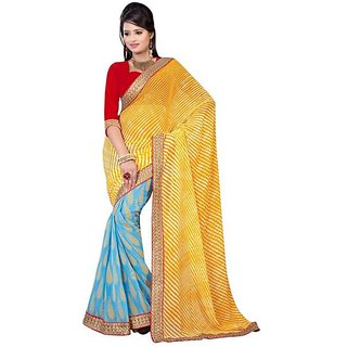 Firstloot Blue Color Faux Georgette Printed Casual Wear Saree