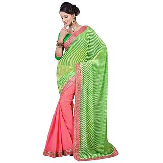 Firstloot Green Color Faux Georgette Printed Casual Wear Saree