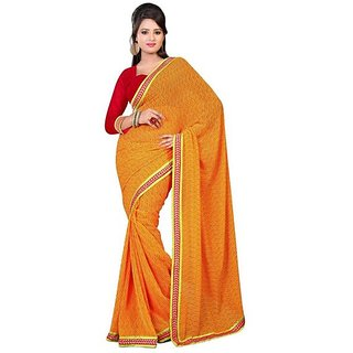 Firstloot Stylish Yellow Color Chiffon Printed Casual Wear Saree