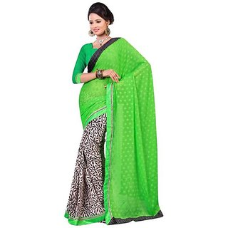 Firstloot Green Color Chiffon Printed Casual Wear Saree