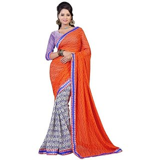 Firstloot Stylish Orange Color Faux Georgette Printed Casual Wear Saree