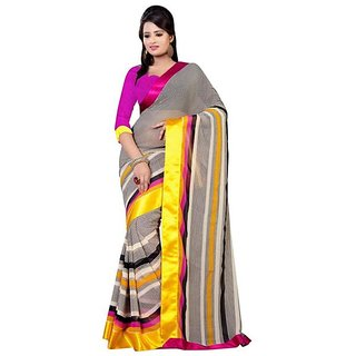 Firstloot Black Color Chiffon Printed Casual Wear Saree