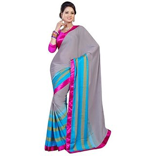 Firstloot Stylish Gray Color SatinCrape Printed Casual Wear Saree