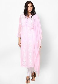 Sukuma Pink Embroidered Cotton Stitched Kurti