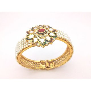 Kundan Ruby Pearl GOLD PLATED Flower Motif Openable Kada - See more at: http://w