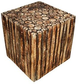 Wooden Square Shape Stool/Chair/Table Made From Natural Wood Blocks 12 Inch