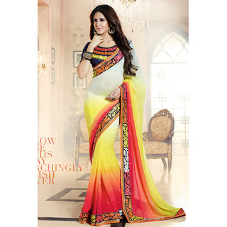 Yellow , Cream and Pink Georgette Saree with Dark Blue Embroidered Blouse Piece