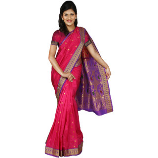PAANERI DARK PINK ART SILK SAREE WITH TANT PALLU