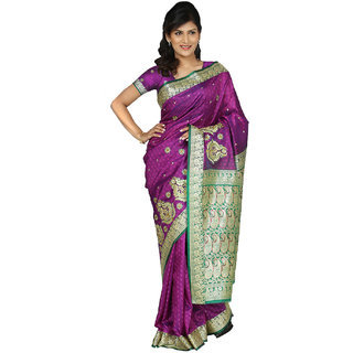 PAANERI FUSCHIA COLOR ART SILK RESHAM WORK SAREE