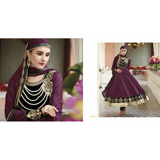b6f7a695a49 Cotton Readymade Anarkali Suit Dark Merchenda Prices in India- Shopclues-  Online Shopping Store