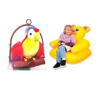 Talk Back Parrot Inflatable Teddy Chair