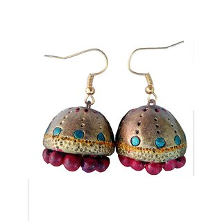Golden Color with Red touch Traditional Handmade Terracotta Jhumka