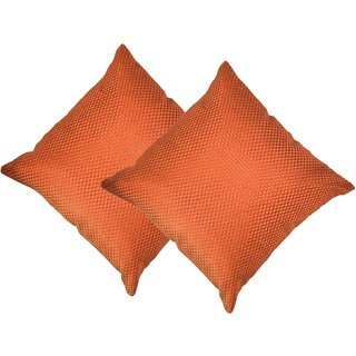 Beledecor Orange Cushion Cover in Jute Design Set Of 2