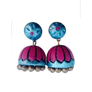 Turquoise Blue with Pink Color Traditional Handmade Terracotta Jhumka