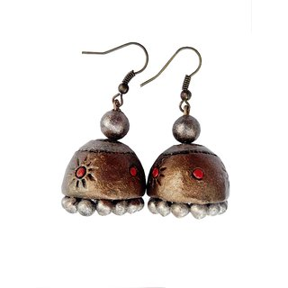 Silver and light Copper Color Traditional Handmade Terracotta Jhumka