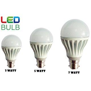 7 w white led bulb set of 3