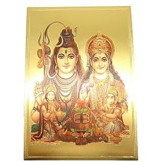 Gold Foil Print Frame of Shiv Parivar