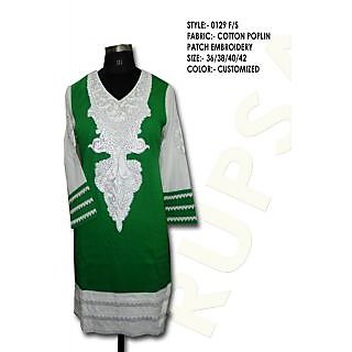 Beautiful Ladies Cotton Kurti Green And White