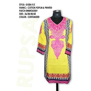 Beautiful Ladies Cotton Kurti Yellow