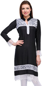 Black Plain Rayon Stitched Kurti