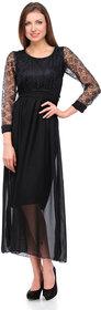 Klick2Style Black Plain Net Maxi Dress For Women