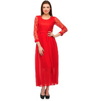 Klick2Style Red Plain Net Maxi Dress For Women