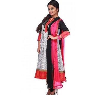 Charming Designer Anarkali Dress Material Black White And Pink (Unstitched)