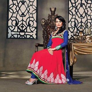Designer Anarkali Dress Material Blue And Pink (Unstitched)