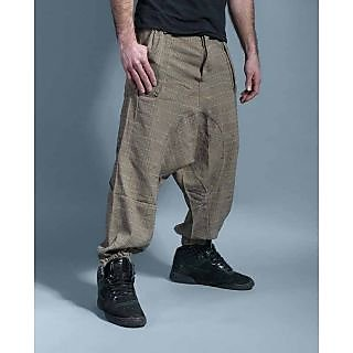 92b4ba8aa4c3 Mens baggy low drop crotch harem pants checkered pattern