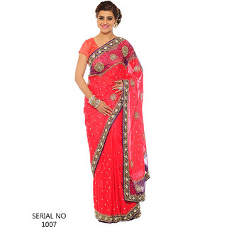 57a5bdfb5f6 Kishore Sarees Red Embroidered Party Wear Saree at Best Prices ...