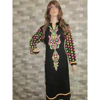 Jeenious Branded Black Designer Woolen Cum Georgette Kurti