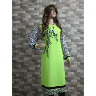 Jeenious Branded fluorescent Green Embroidered Georgette cum Woolen Kurti