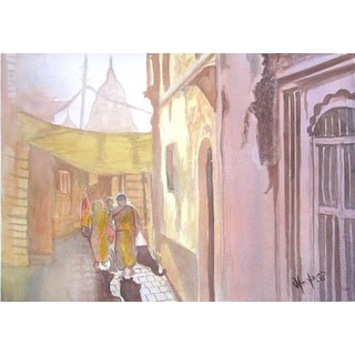 Way to temple- Watercolor painting