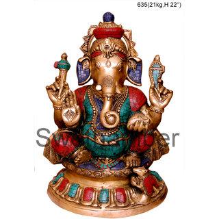 Brass Colourful Ganesh statue 21kg