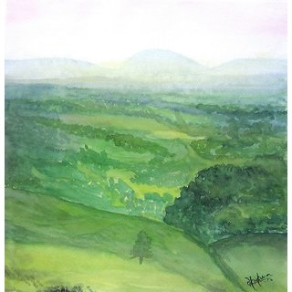 Green field-Watercolor painting