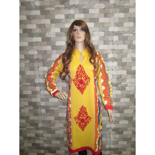 Jeenious Branded Designer yellow/orange Embroidered Woolen party wear Kurti