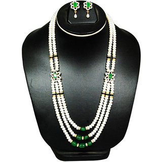 Platinum And Pearl Jewelry Set Green And Off White