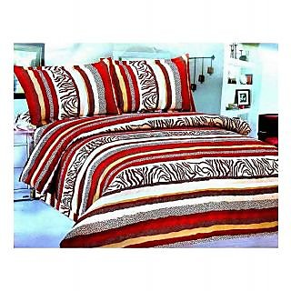 Cotton Double Bed Sheet Red And Multicolor