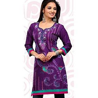 Cambric Cotton Designer Indian Kurti Purple