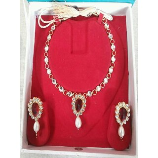 Party Wear Necklace Mehroon And Off White