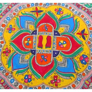 MADHUBANI GREAT ORIGIONAL PAINTING OF LORD RAM'S FOOTAGE/CHARAN PADUKA