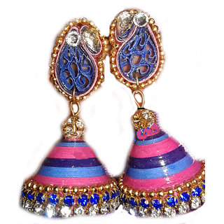 Ladies Partywear Earring Pink And Blue