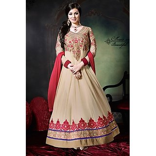 b8ba4b83fd8 Charming Designer Anarkali Readymade Suit Off White And Mehroon at Best  Prices - Shopclues Online Shopping Store