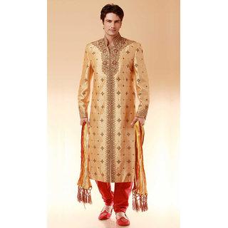 Online Brocade Designer Indian Wedding Sherwani Beige Size L Prices