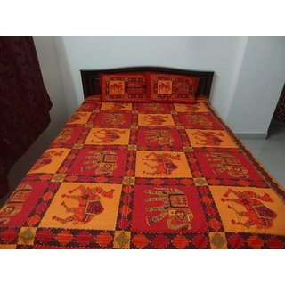vibrantraditions kantha work camel n elephant bed Sheet